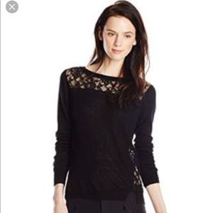 Rebecca Taylor NWT blocked lace black sweater S